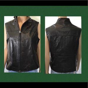Black Leather Vest Olive Green Accents Vented Hips